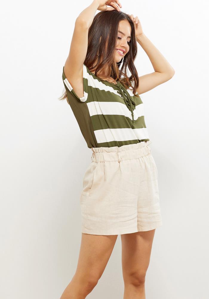 7d086aeac Pleione Lace Tie Stripe Women Clothing Tee | ROBINKUSA.COM