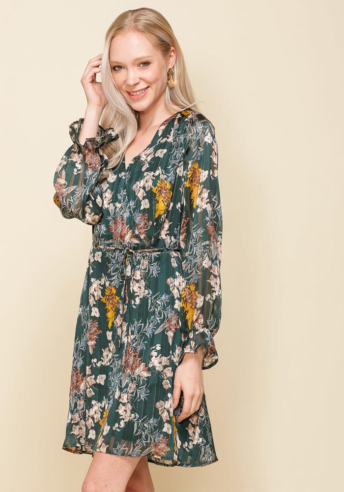 6d7bfd9db9c0 Pleione Women's V-neck Surplice Front Floral Chiffon Dress | ROBINKUSA.COM