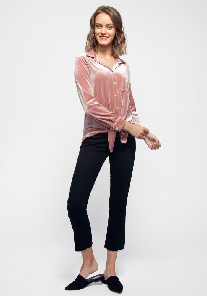 e42fb84cb Pleione Women's Button Down Velvet Shirt Blouse With Tie Hem | ROBINKUSA.COM