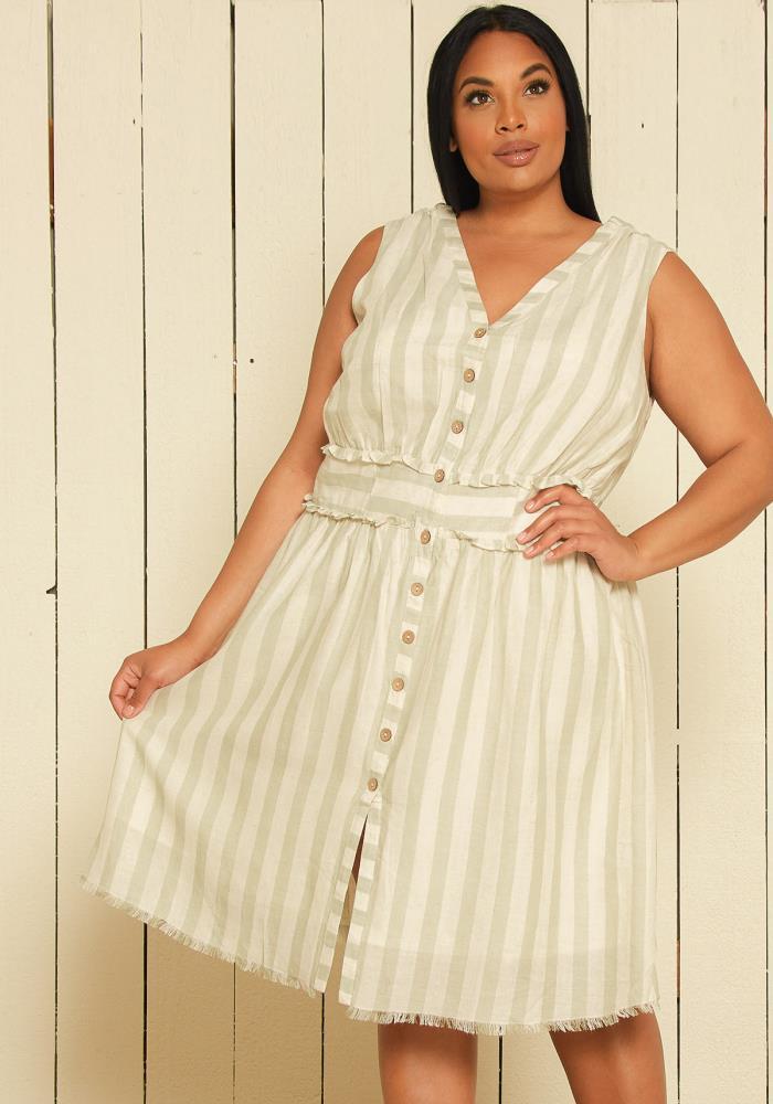 Nurode Plus Size Sleeveless Button Down Stripe Dress ...