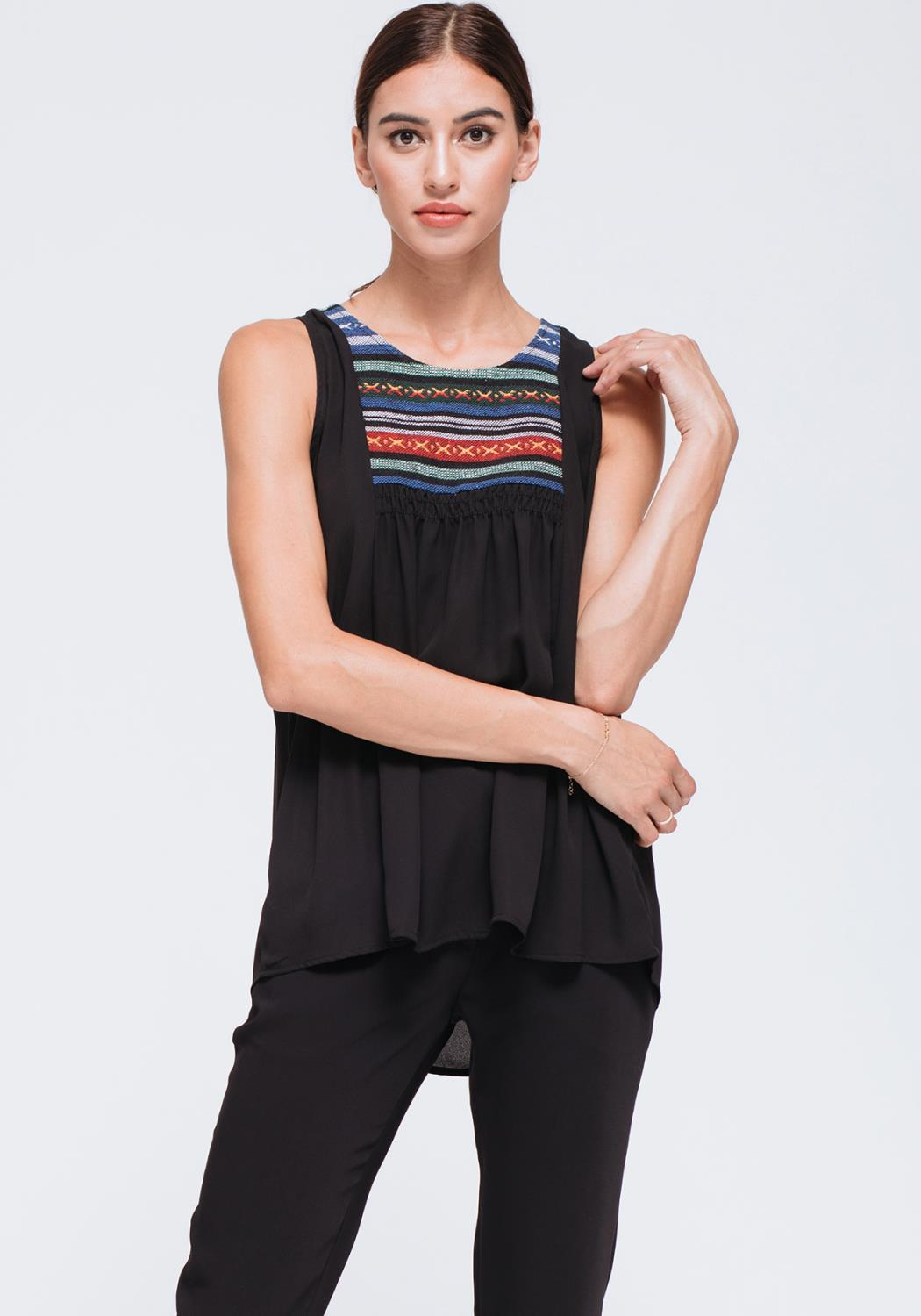 Embroiled Neck Tank Top