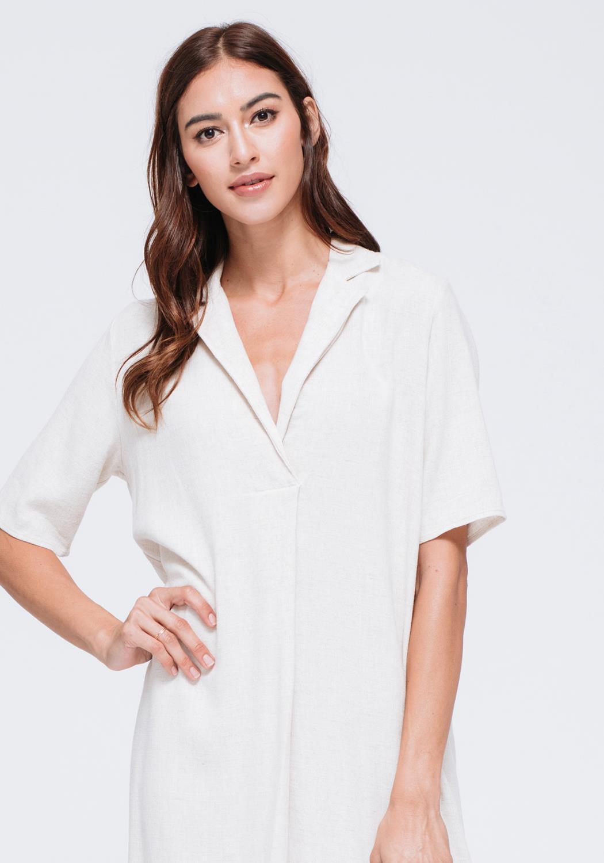 Linen Short Sleeve Shift Dress