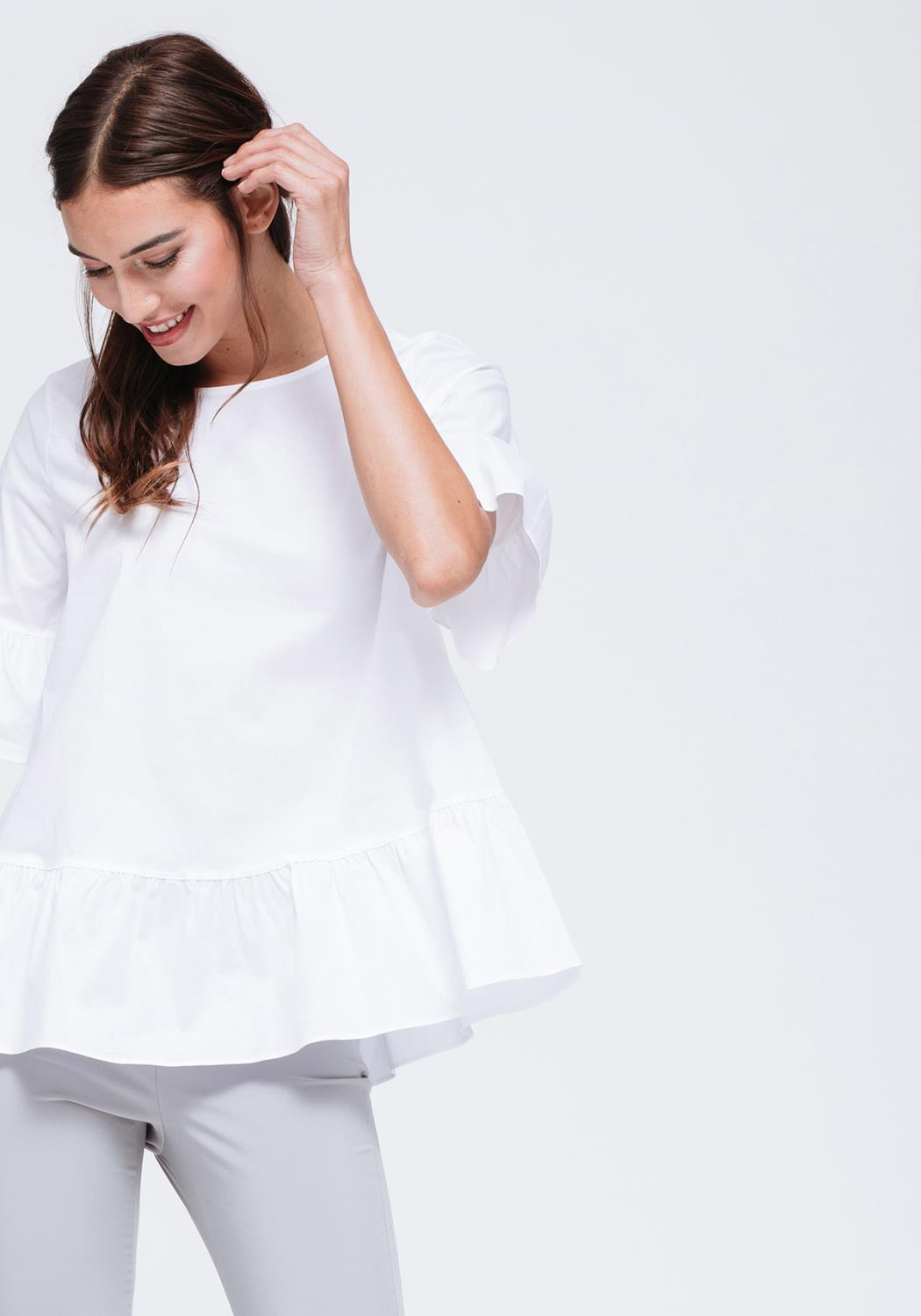 Bell Sleeves with Ruffle Hem Top