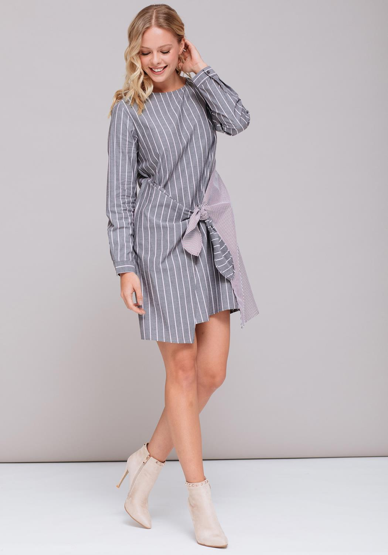 Mix Stripe Tie Front Shirtdress