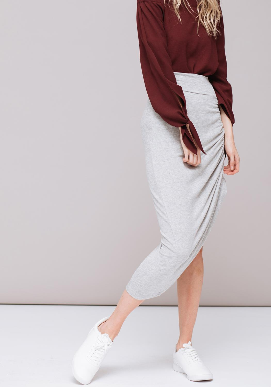 Side Tie Gathering Skirt