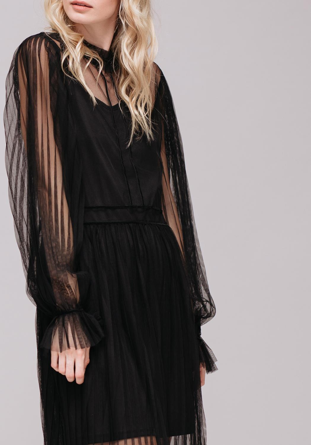 Sheer Tier Long Sleeve Party Dress