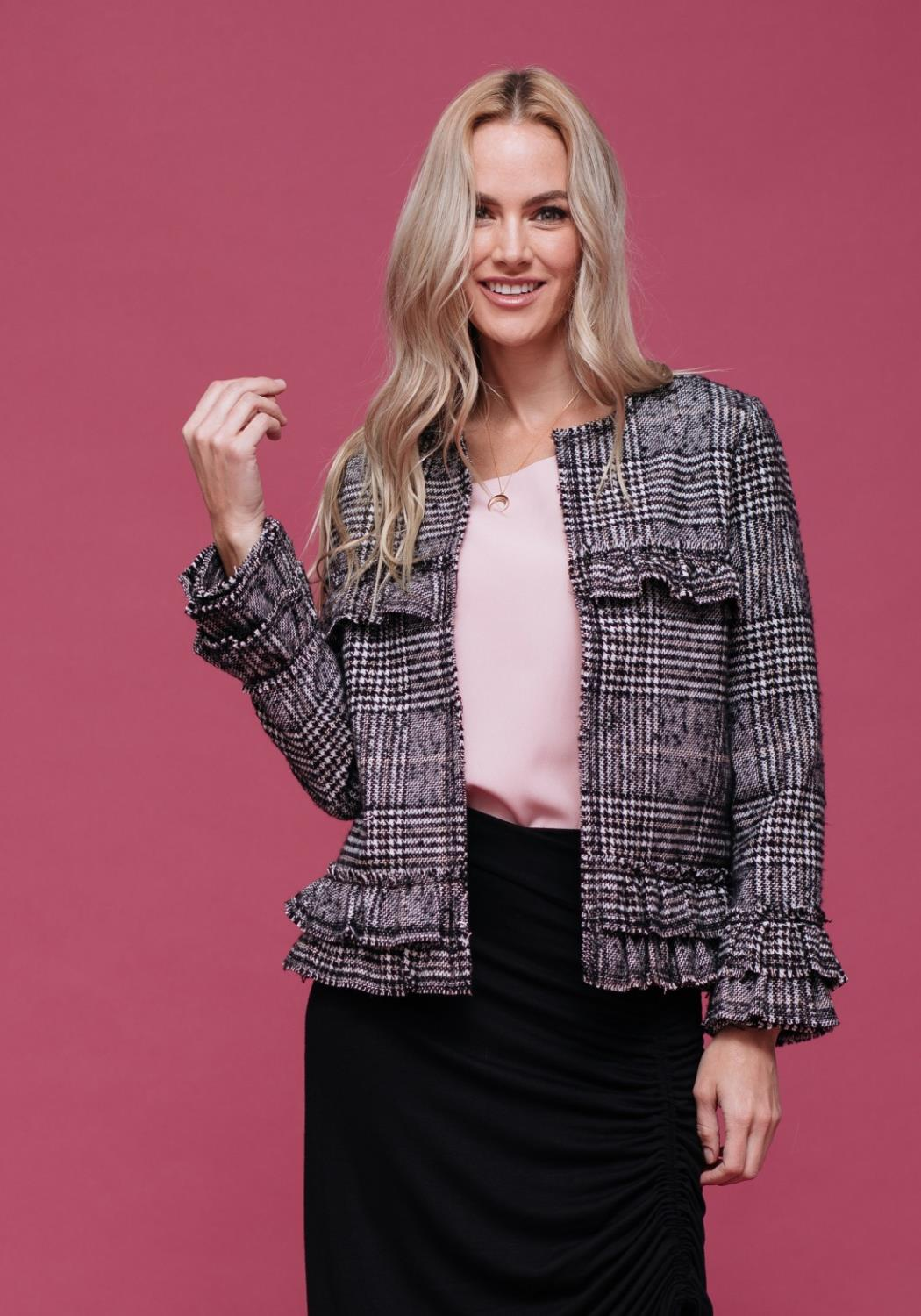 Plaid Ruffle Trim Jacket