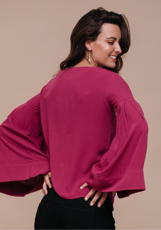 Bell Sleeve Drop Shoulder Blouse