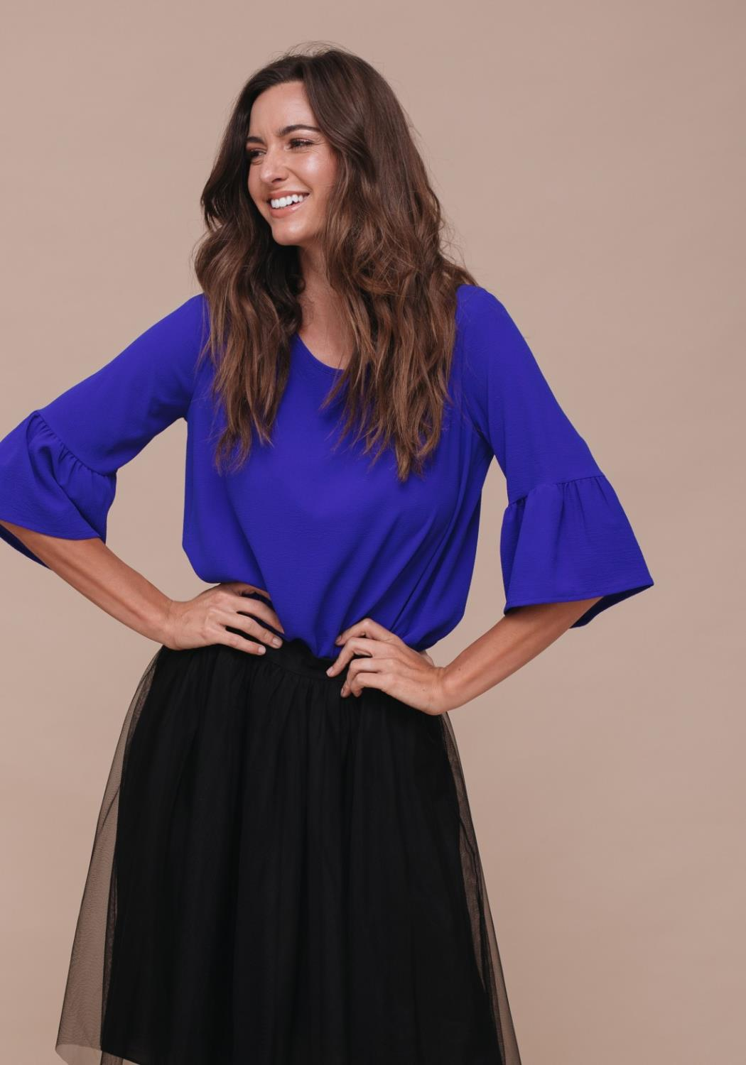 Asymmetrical Bell Sleeve Top