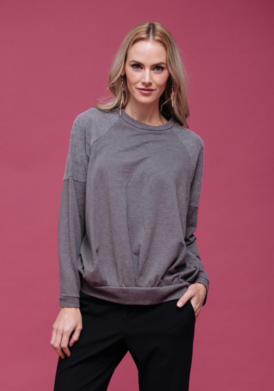 Pleated Two Tone Sweatshirt