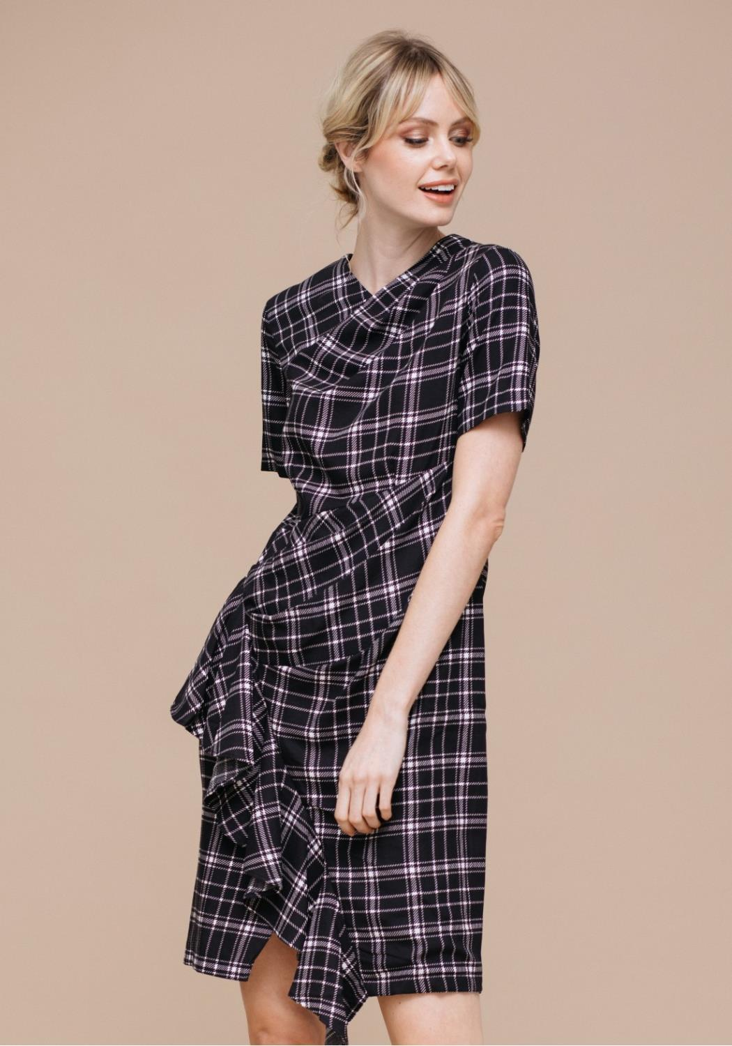 Asymmetrical Plaid Short Sleeve Dress