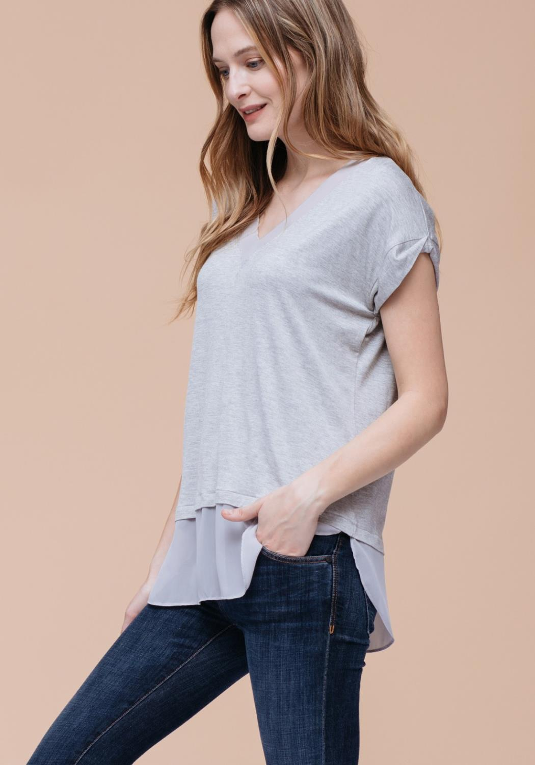 Chiffon Inset Mock Two Piece T-Shirt