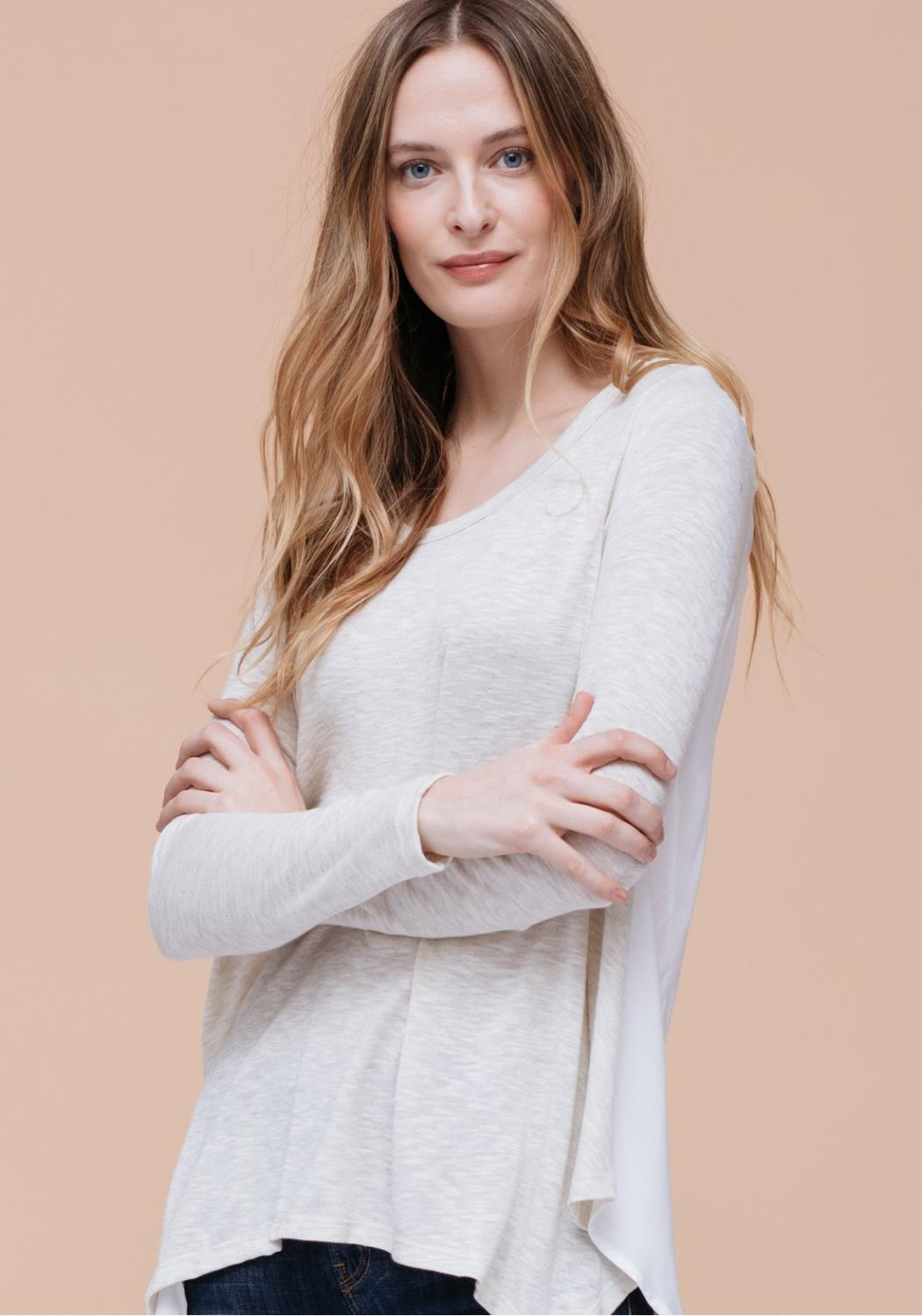 Two Tone Round Neck Top