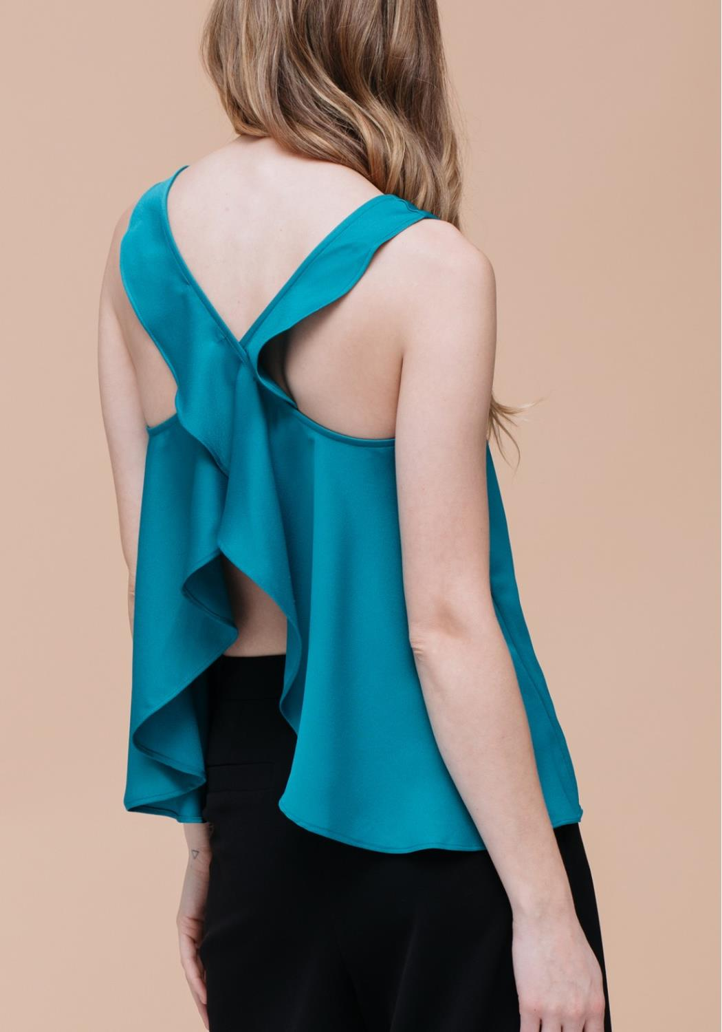 Ruffle Cross Back Tank