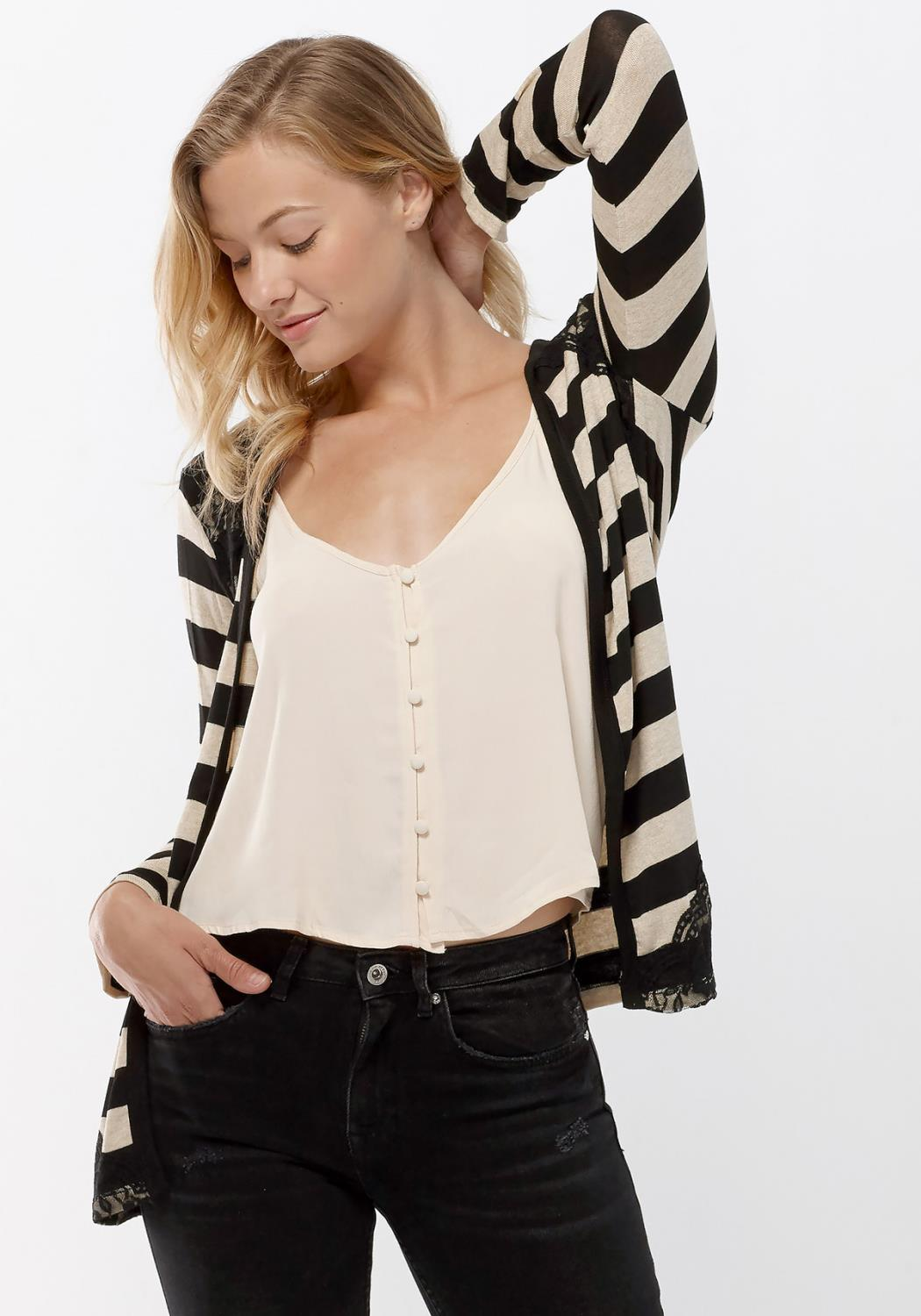 Open Front Stripe Lace Hem Cardigan