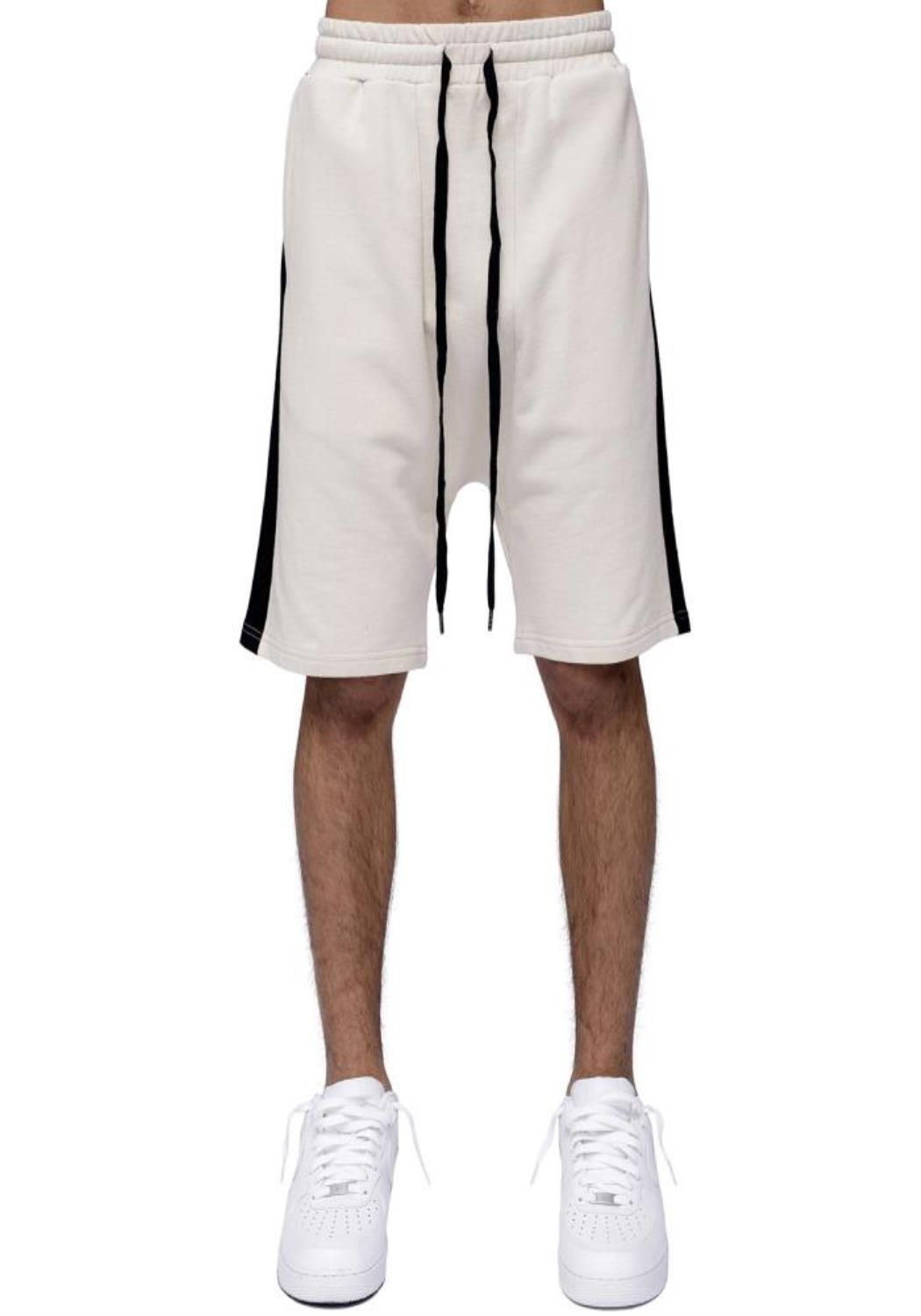 Konus Drop Crotch Sweat Shorts with Black Stripes on Side