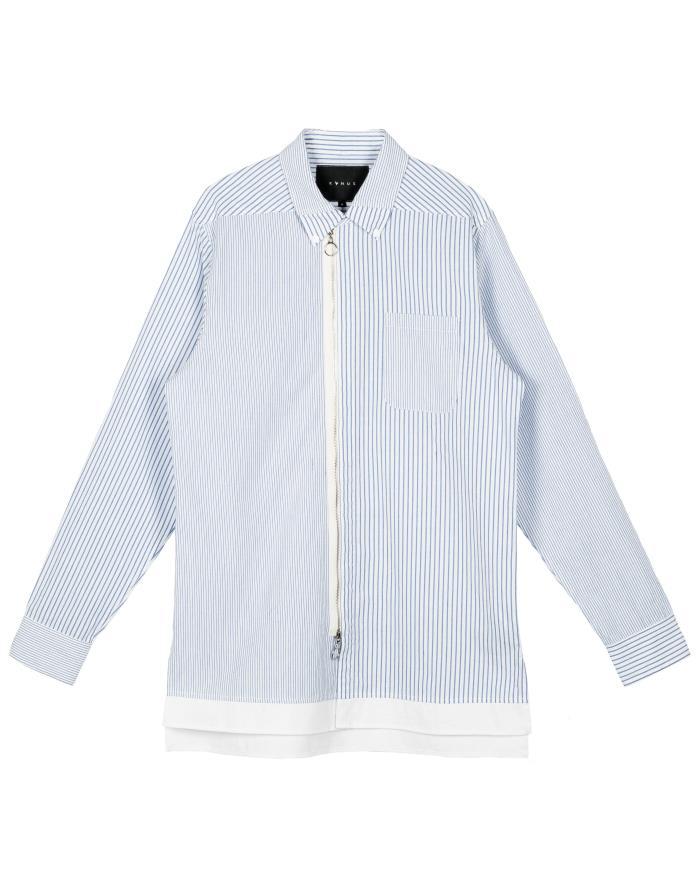 Konus Zip Up Long Sleeve Button Down Shirt in Stripe Fabric