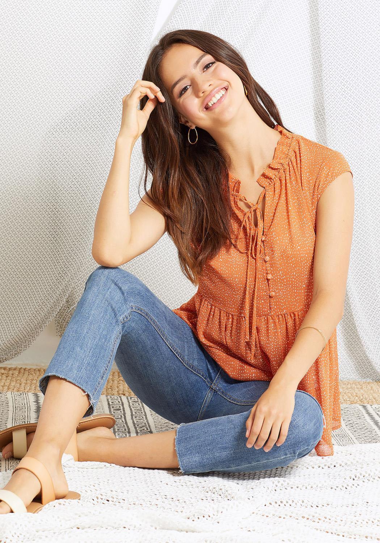 Ro&De Women Clothing Cap Sleeve Tie Neck Print Blouse