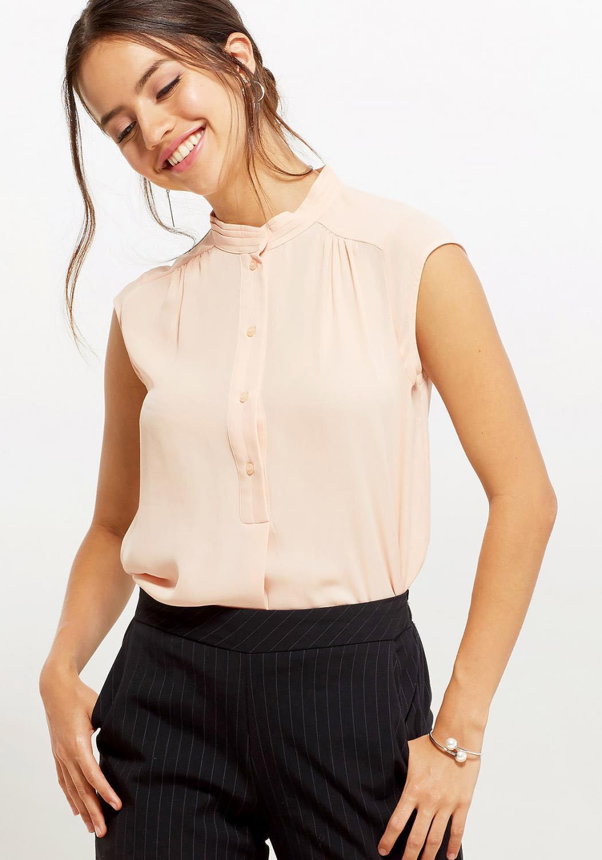 Ro&De Women Clothing Stand Collar Cap Sleeve Blouse