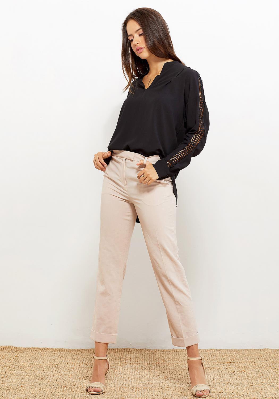 Ro&De Black Lace Trim Sleeve Women Clothing Blouse