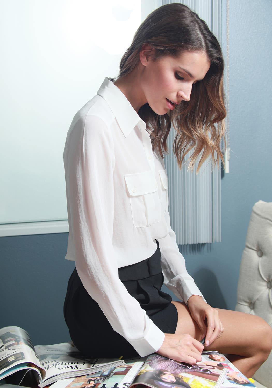 Ro&De Noir Sheer Basic Button Up Blouse Women Clothing
