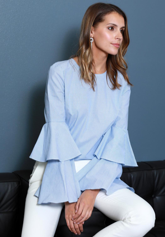 Ro&De Noir Ruffle Bell Sleeve Shirt Blouse Women Clothing