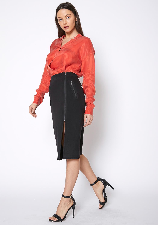 Ro&De Noir Zipper Slit Hem Skirt Women Clothing