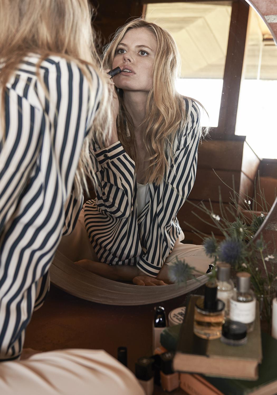 V-neck Button Down Stripe Shirt Blouse
