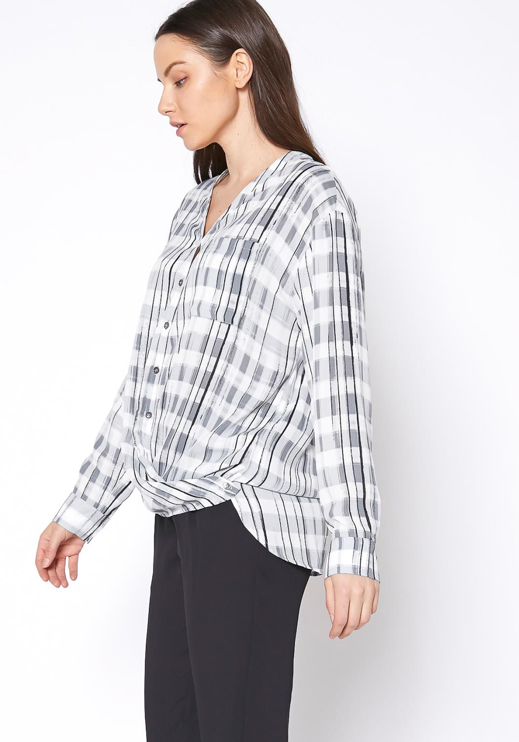 Ro&De Noir Printed Wrap Hem Blouse