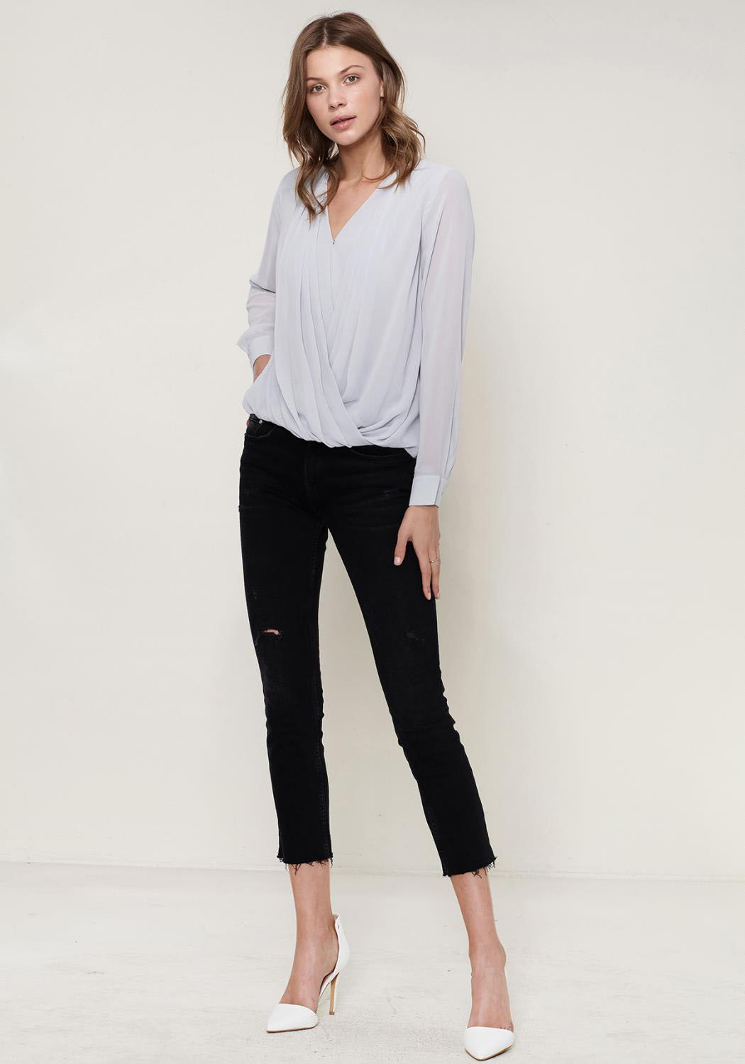 Ro&De Noir Pleated Wrap Blouse