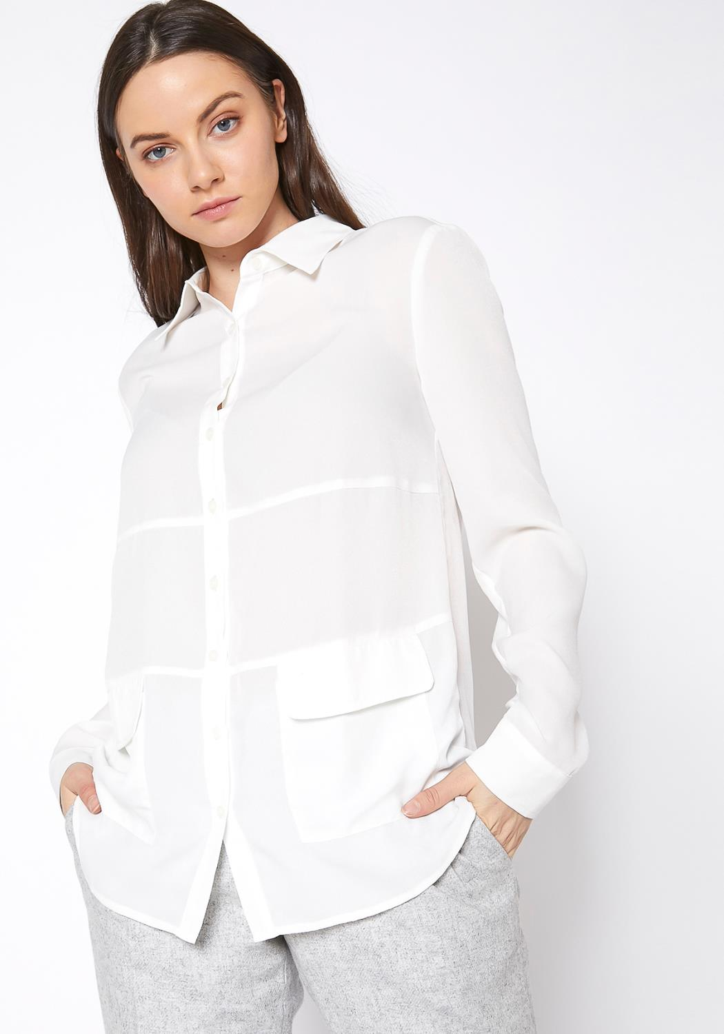 Ro&De Noir Button Down Pocket Blouse