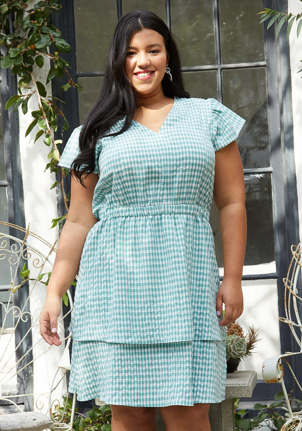 Pleione Plus Size Puff Shoulder Ruffle Checkered Dress