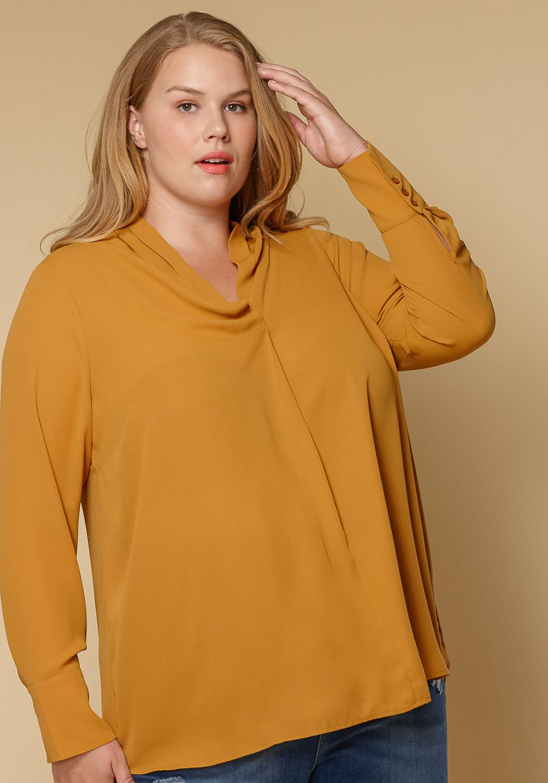 Pleione Plus Size Pleated V-neck Long Sleeve Blouse