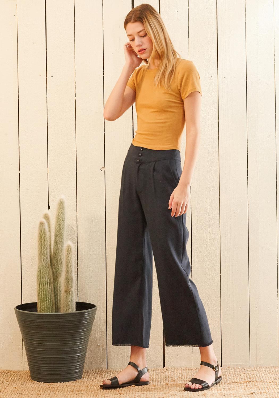 Nurode Fringe Hem Cropped Pants