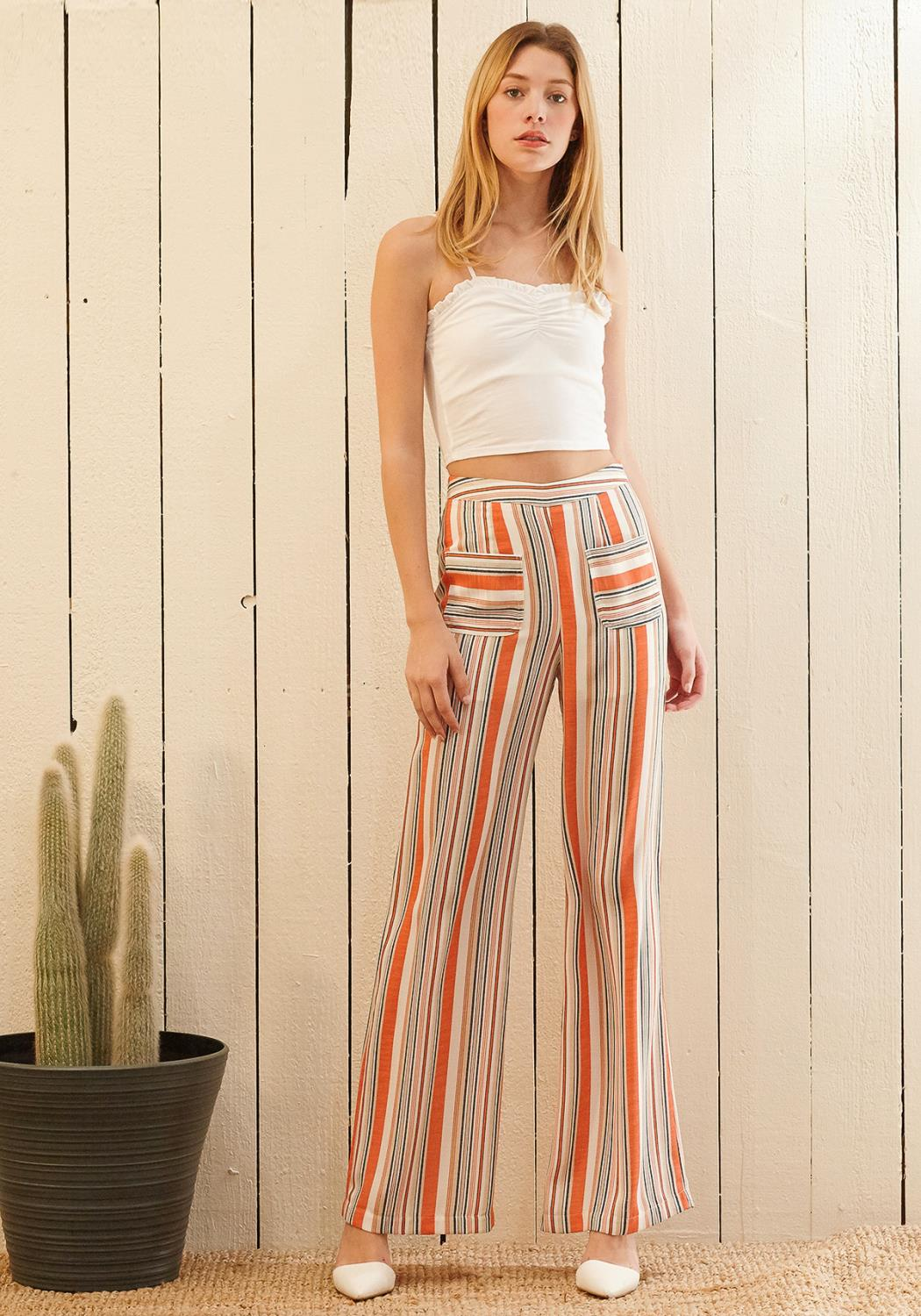 Nurode  Multi Stripe High-waisted Palazzo