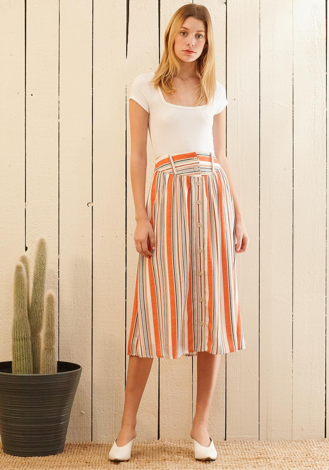 Nurode Multi Stripe Button Front  Midi Skirt