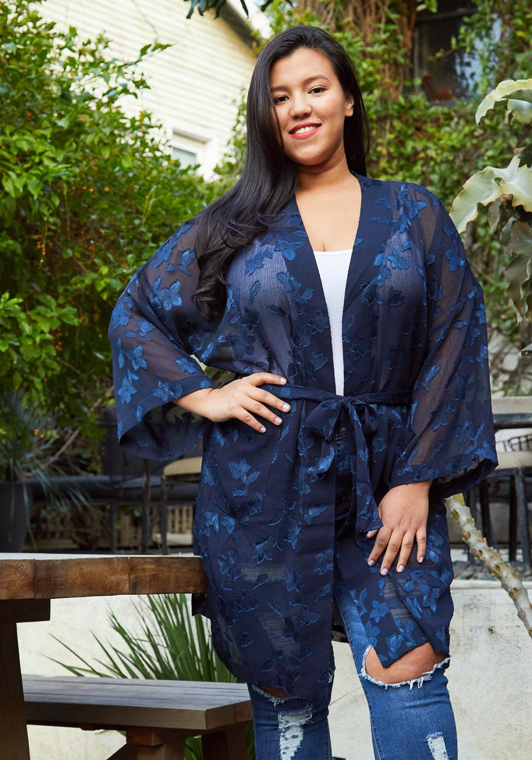 Pleione Plus Size Sheer Floral Embossed Robe Cardigan