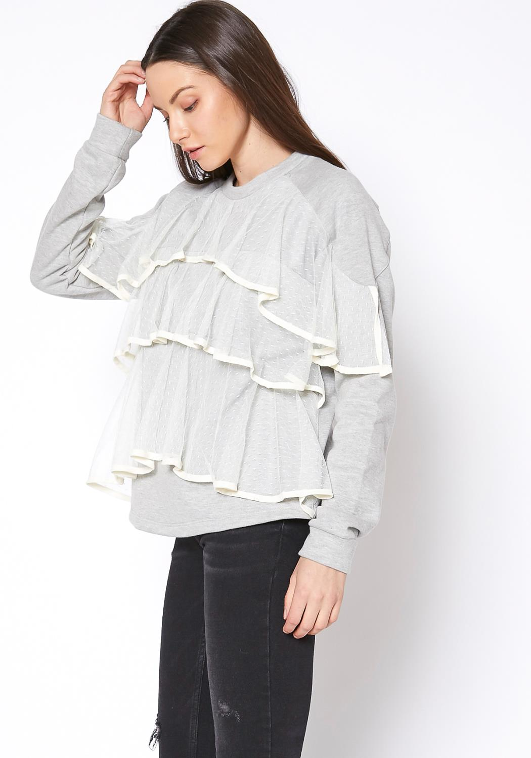 Ro&De Noir Layered Lace Front Crewneck Sweatshirt