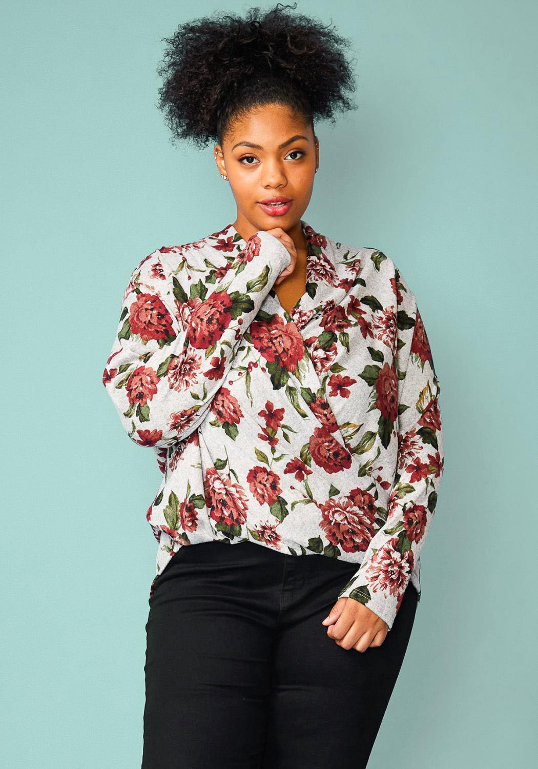 Pleione Plus Size Floral Wrap Knit Blouse