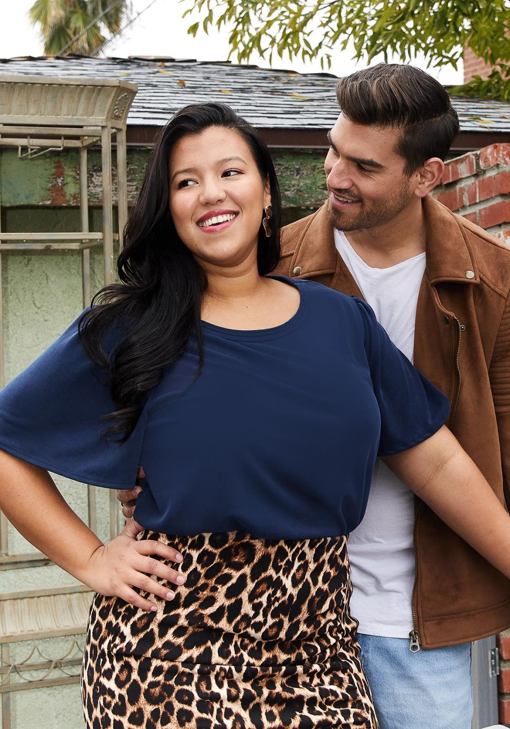 Pleione Plus Size Bell Sleeve Casual Top