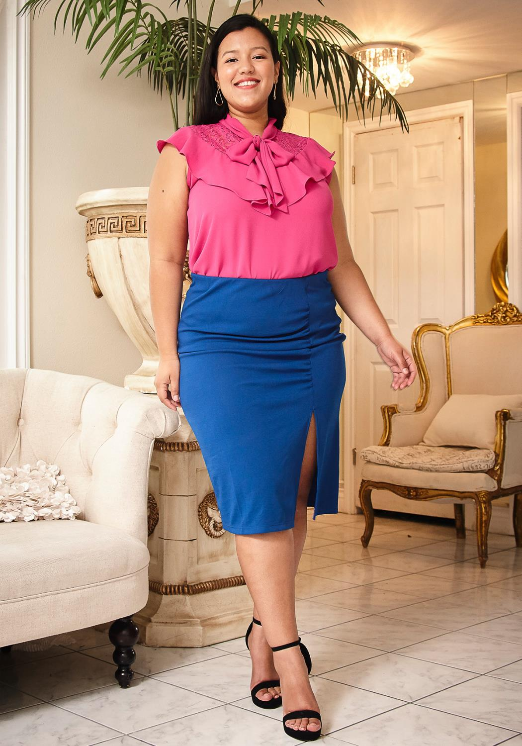 Pleione Plus Size Slit Hem Pencil Skirt