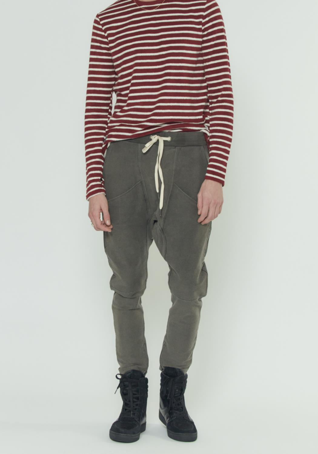 OVERDYED DROP CROTCH SWEATPANTS WITH MULTIPLE POCKETS