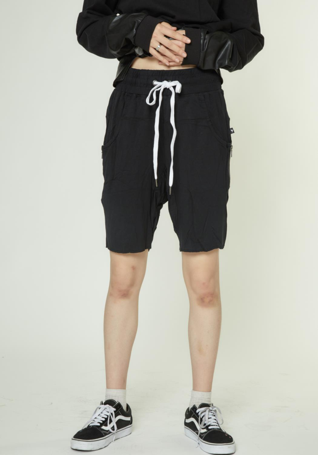 DROP CROTCH SHORTS WITH ZIPPER POCKETS