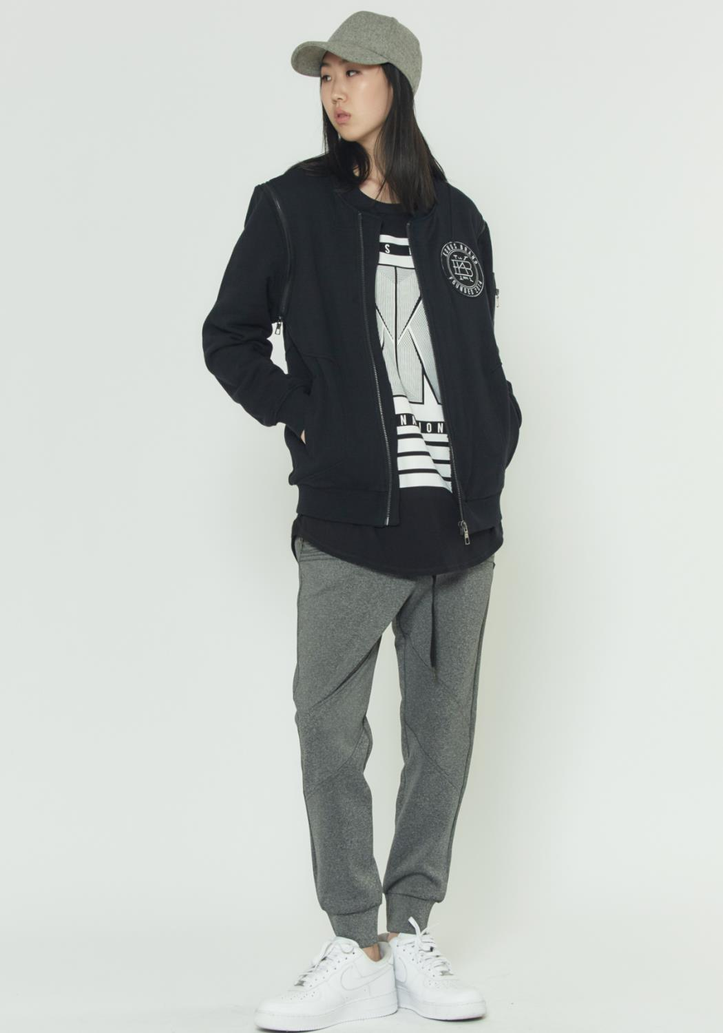 FRENCH TERRY BOMBER JACKET WITH DETACHABLE SLEEVES