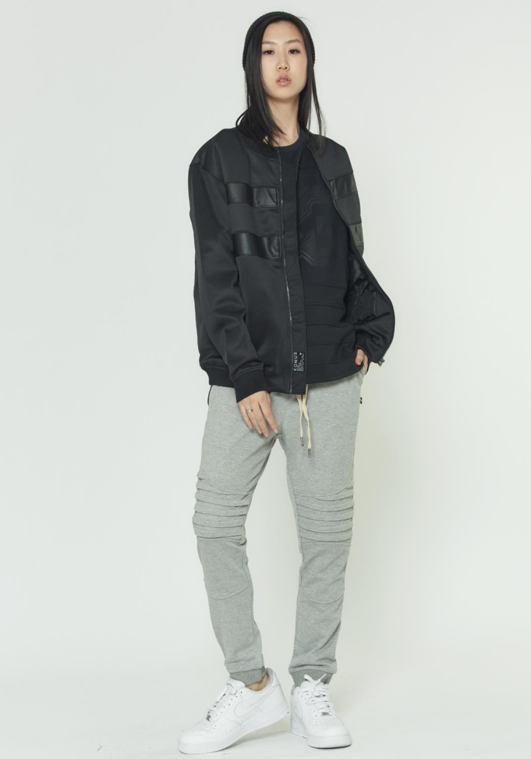 BOMBER JACKET WITH FAUX LEATHER STRIPES