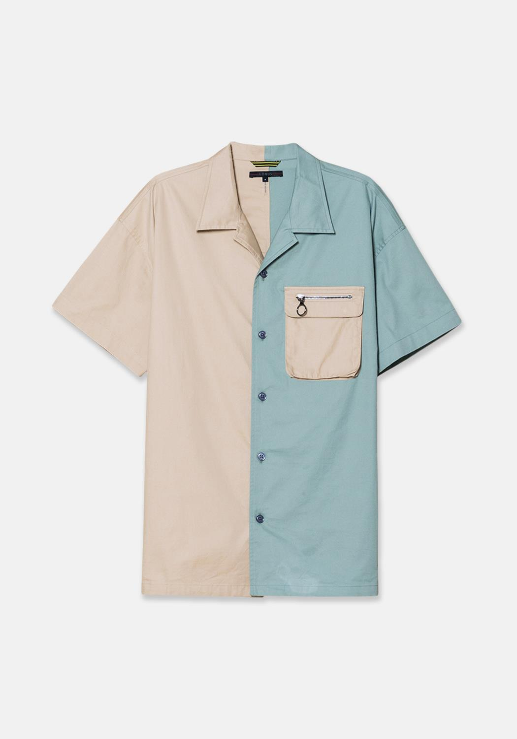 Konus Color Blocked Cotton Twill Oversize Short Sleeve Shirt with Bellow Chest Pocket