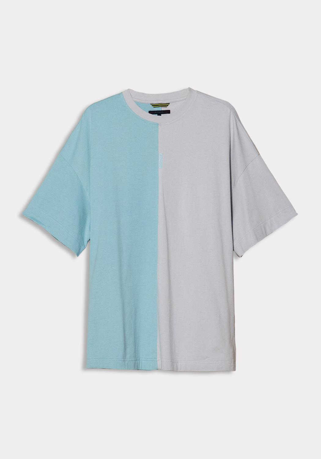 Konus Color Blocked Oversized Short Sleeve Tee  with Reflective Tape on Back
