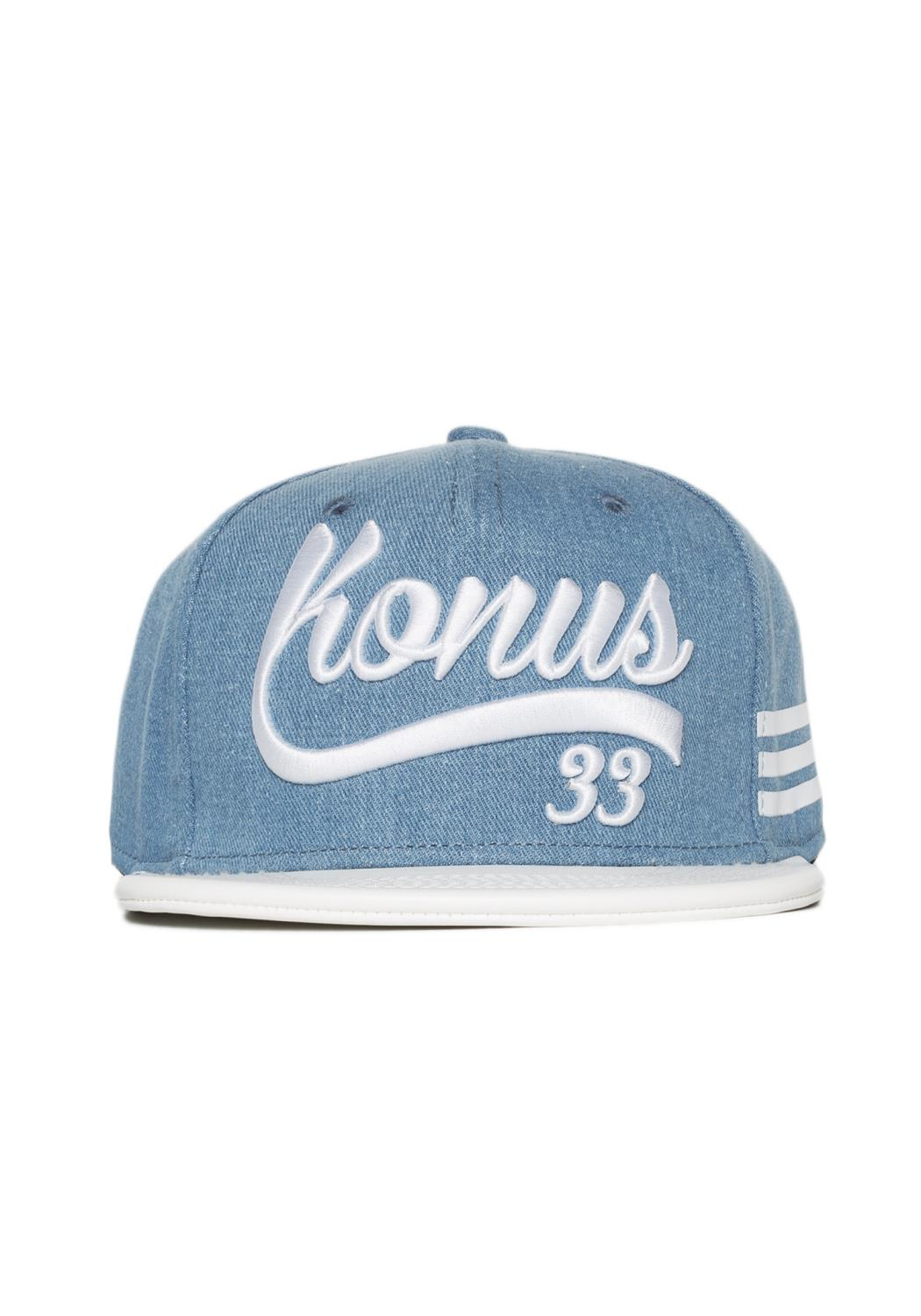 5 Panel Washed Denim Snap Back with Logo Embroidery