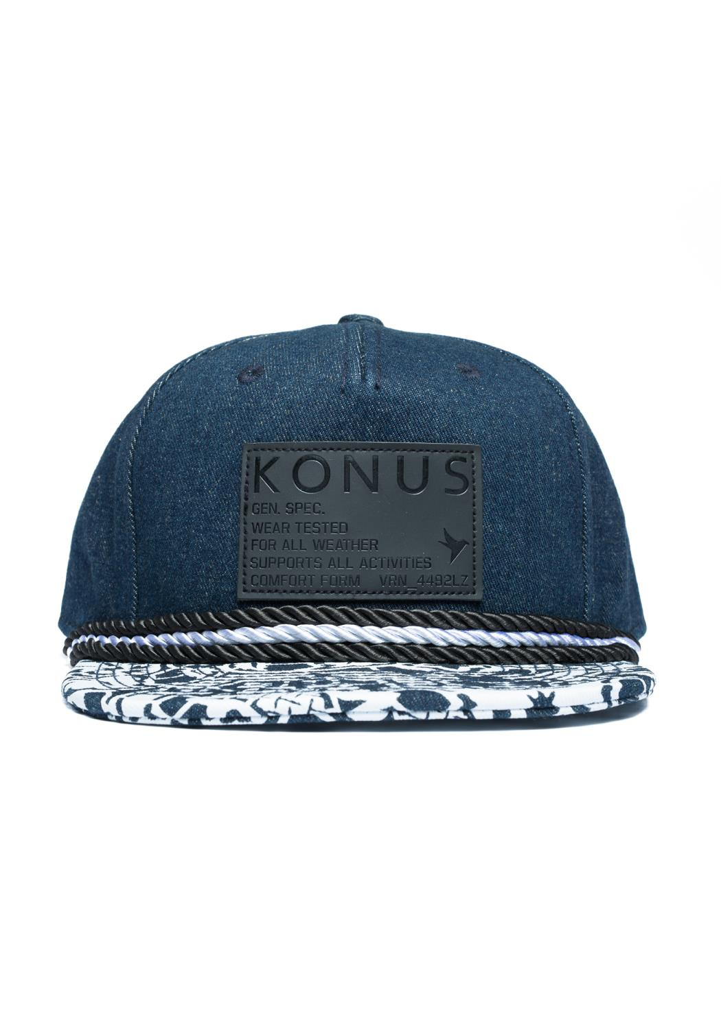 5 Panel Denim Snap Back with Printed Bill and Patch