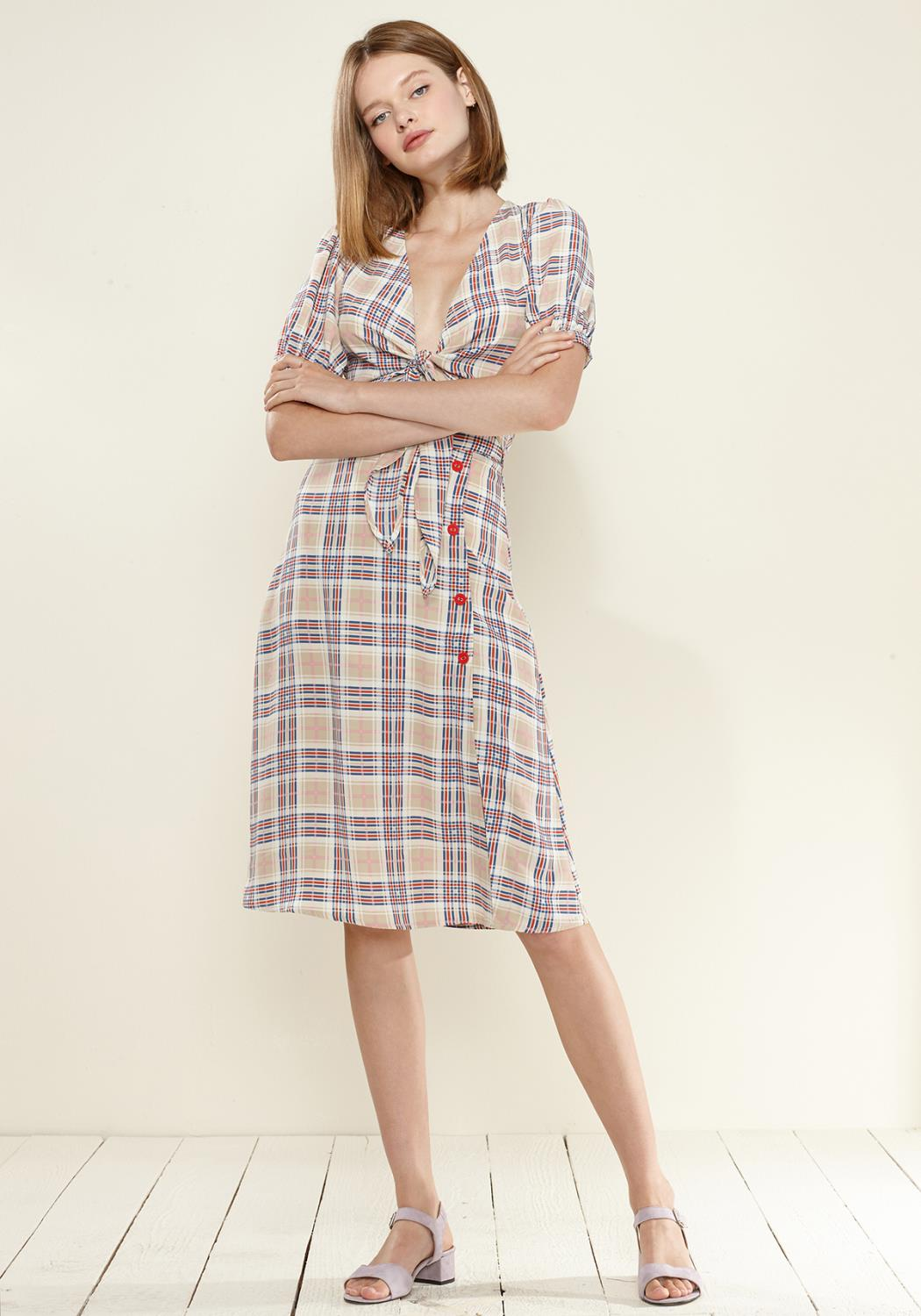 Nurode Multi Check Button Down Slit Skirt